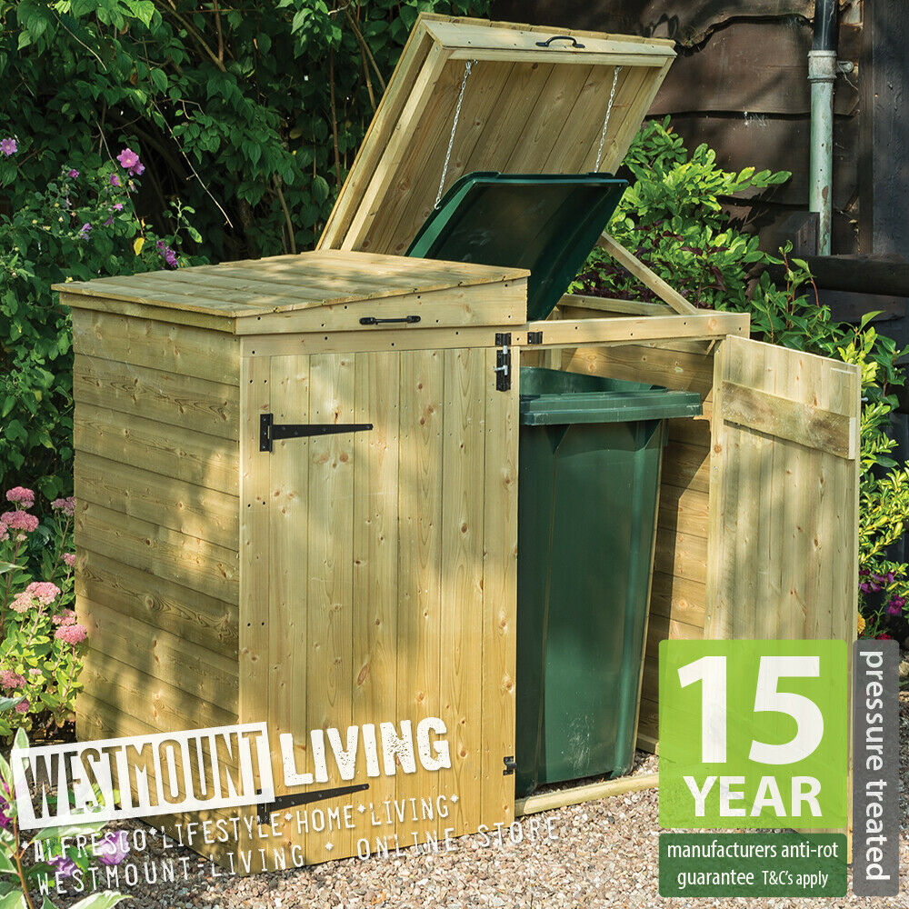1000 Images About Garbage Can Shed On Pinterest: NEW WOODEN WHEELIE BIN STORE DUSTBIN STORAGE RUBBISH