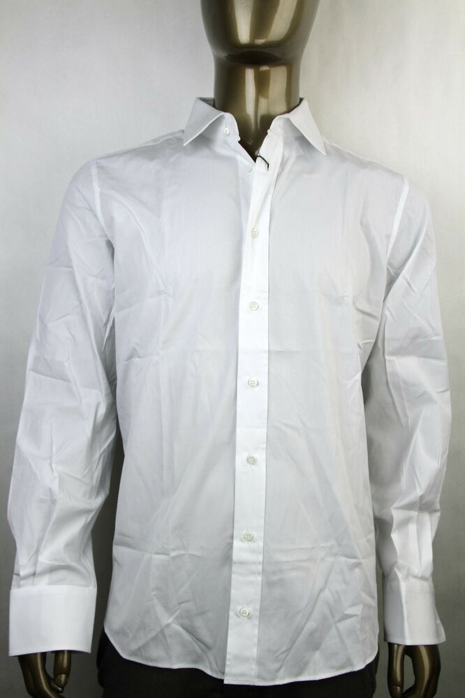 New authentic gucci mens fitted cotton button down dress for Mens white button down dress shirts