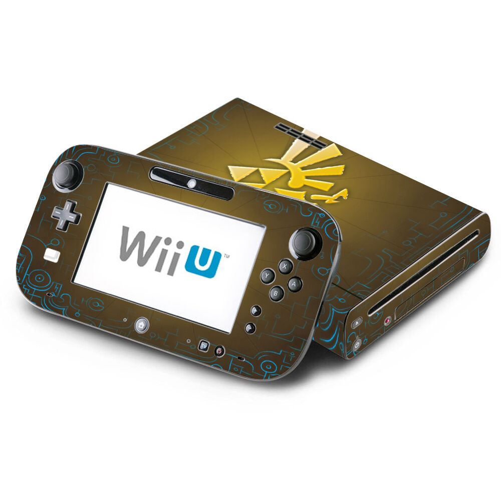 skin decal cover for nintendo wii u console gamepad zelda triforce logo ebay. Black Bedroom Furniture Sets. Home Design Ideas