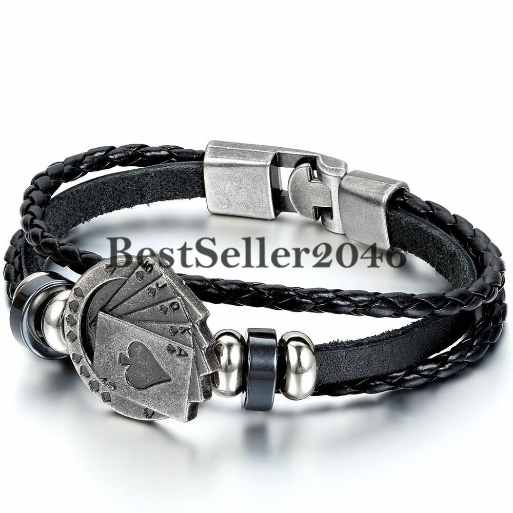 Leather Bracelet With Charms: Poker Card Charm Multi-layer Leather Rope Men's Cuff