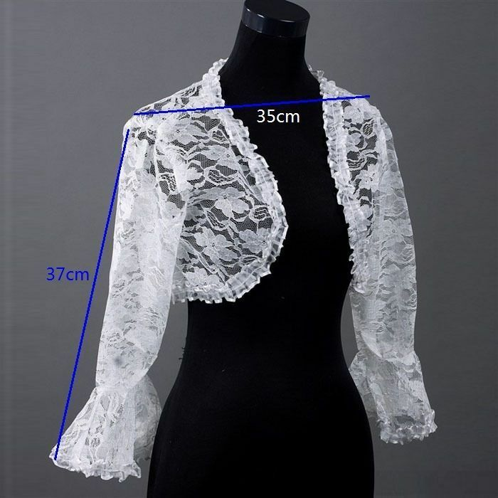New white bridal long lace bolero jacket shawl wraps cape for Dress jackets for wedding