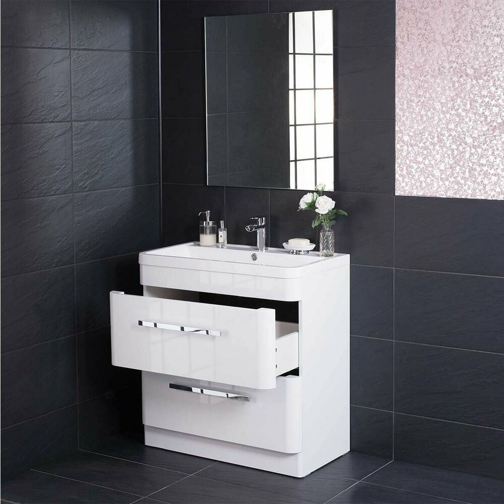 Luxury 800mm Floor Standing Bathroom Vanity Unit Furniture Basin Free Mirror Ebay