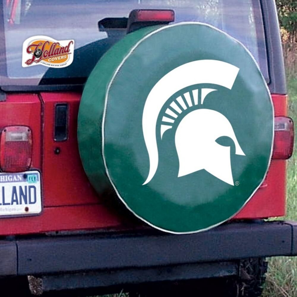 Michigan State Tire Cover With Spartans Logo On Green