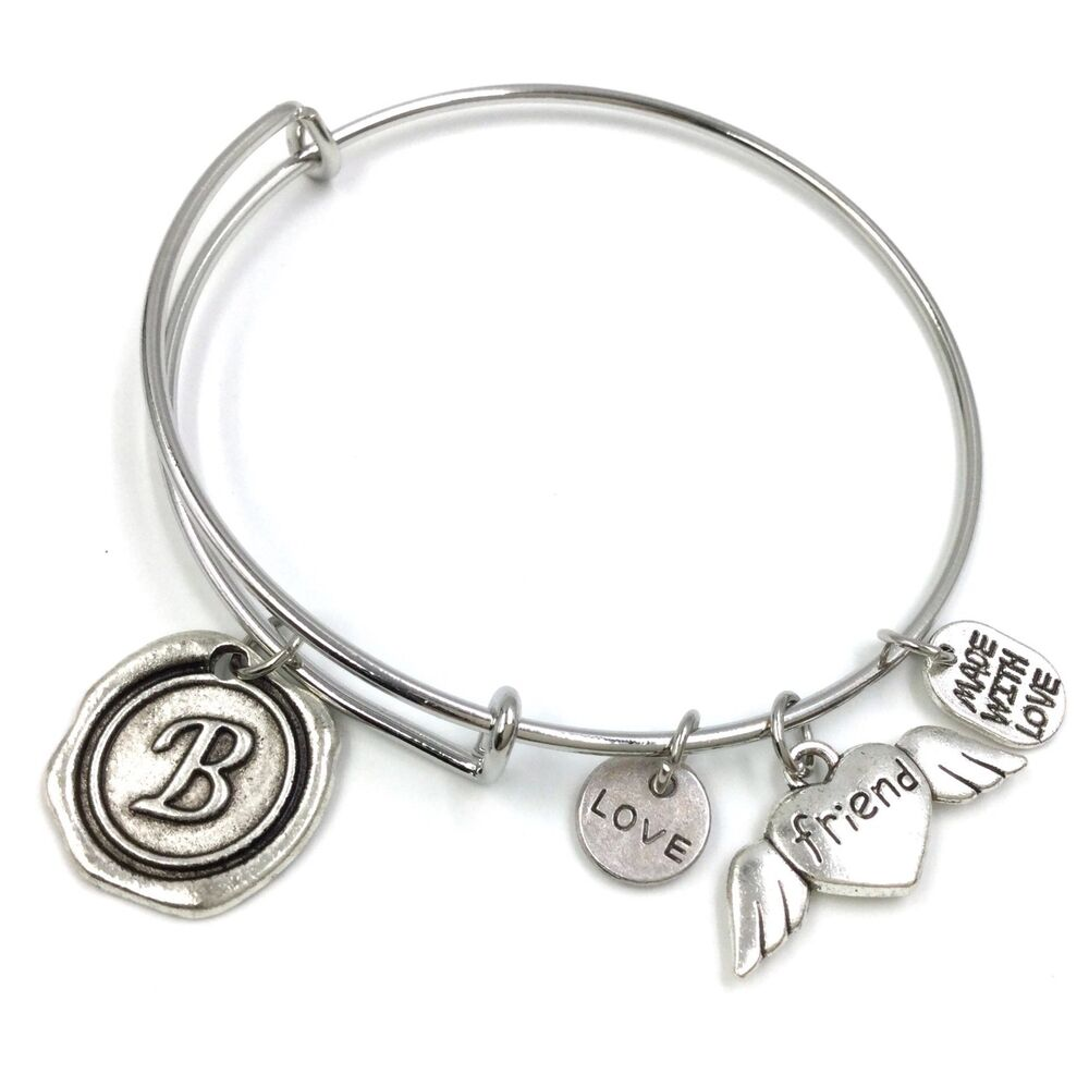 adjustable wire bangle silver plated charm bracelet wax