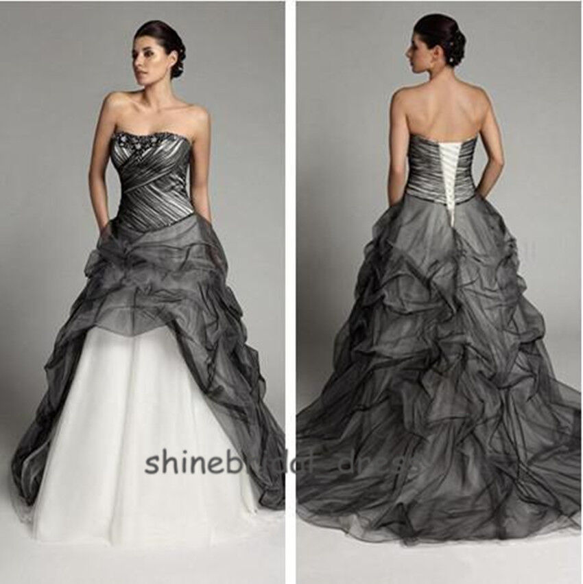 Black Wedding Gowns: Gothic Black Tulle Wedding Dresses 2015 Fall A Line Bead