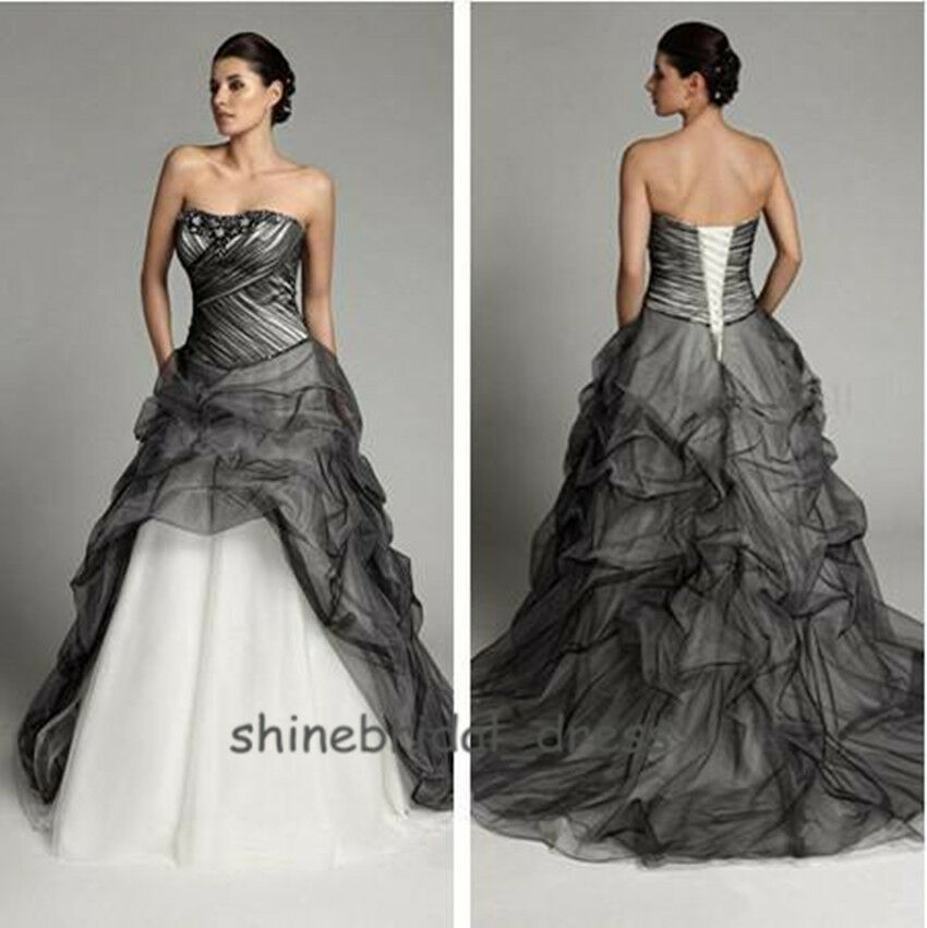 Popular Plus Size Gothic Wedding Gowns Buy Cheap Plus Size: Gothic Black Tulle Wedding Dresses 2015 Fall A Line Bead