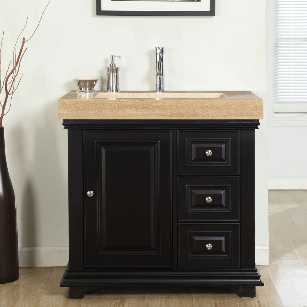 36 Modern Bathroom Single Vanity Travertine Stone Sink Lavatory Cabinet 285t L Ebay