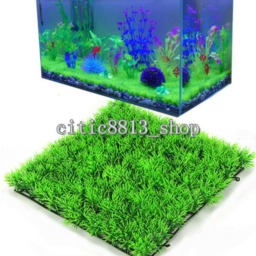 1x artificial water aquatic green grass plant lawn for Green water in fish tank