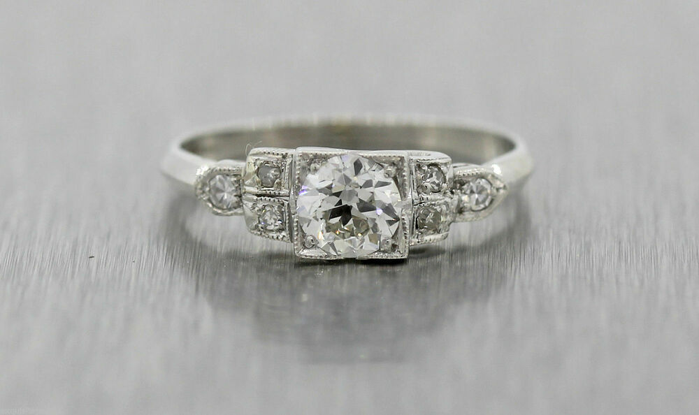 Antique Art Deco Platinum .64ctw Diamond Engagement Ring ...