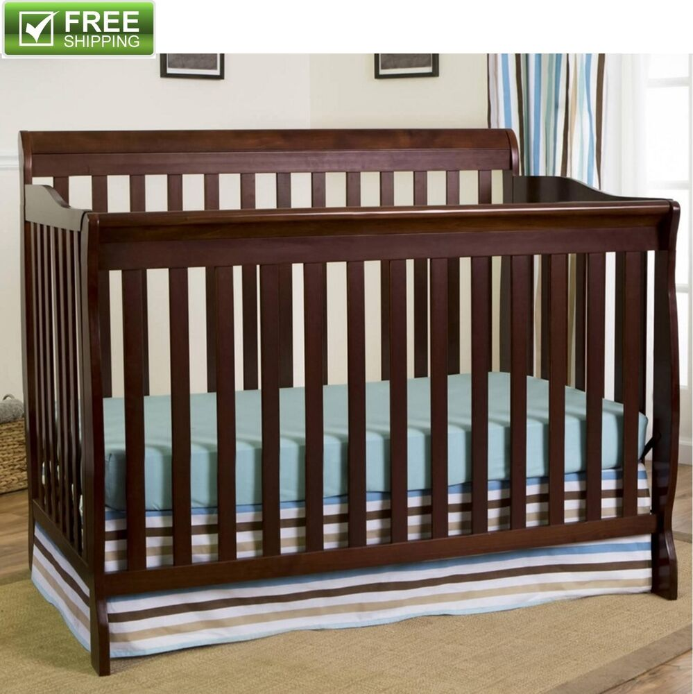 CONVERTIBLE BABY BED 5-in-1 FULL SIZE CRIB ESPRESSO
