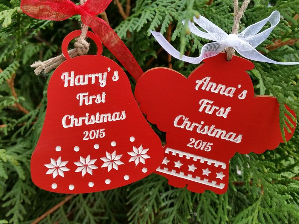 Wooden Christmas Personalised Tree Ornament Baby S First