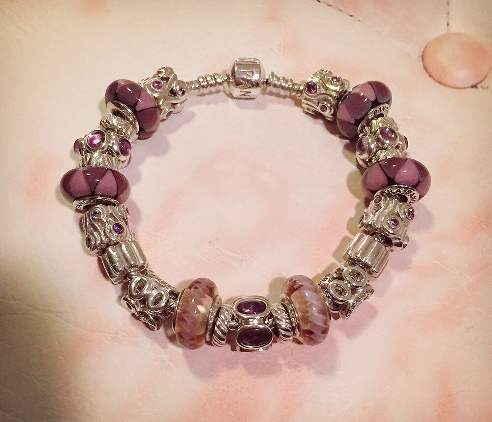 Bracelet With Charms: 19cm Pandora Purple Dream Theme Bracelet (23 Pandora