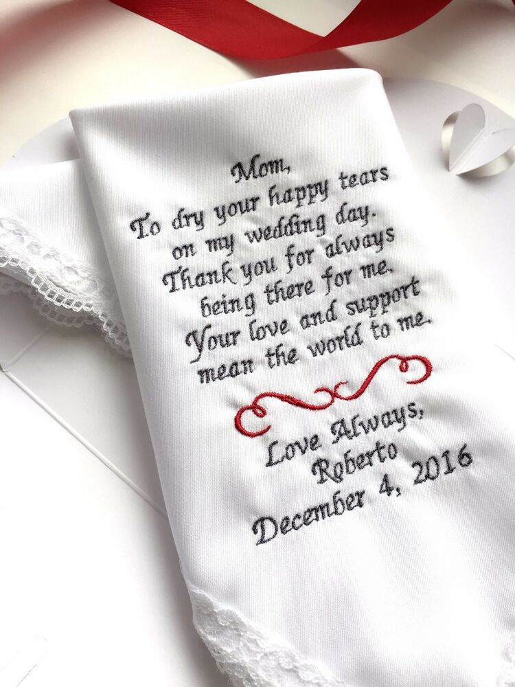 Gift For Mom On Wedding Day: Personalized Weddings Poem-Gifts Handkerchief For Mother