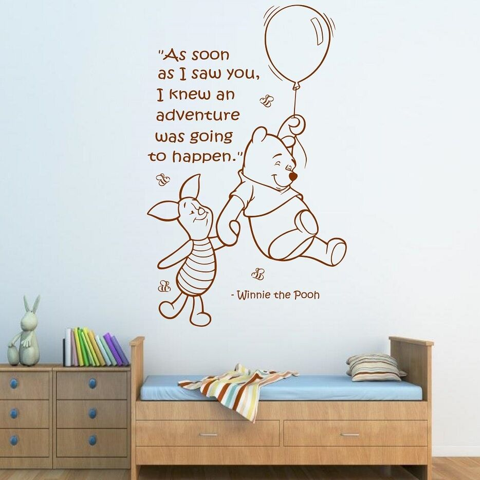 Wall Art Stickers For Nursery : Wall quote winnie the pooh sticker art girls boys