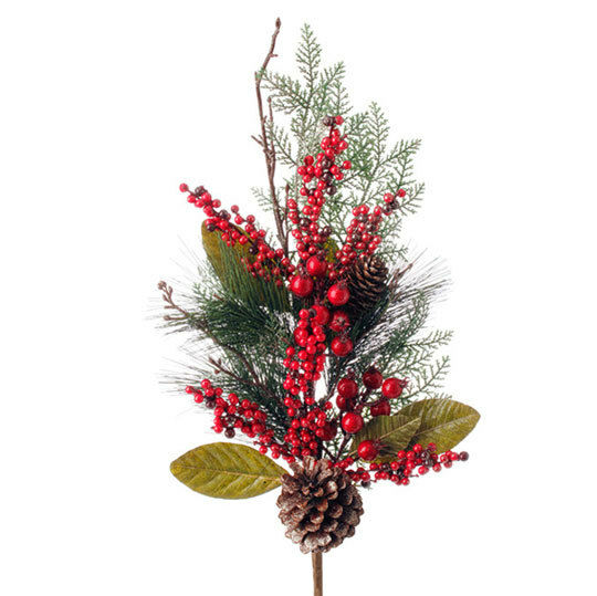 "Christmas Berry Tree Hawaii: RAZ Imports~31"" Pine Berry Pinecone Spray/Floral Pick/Stem"