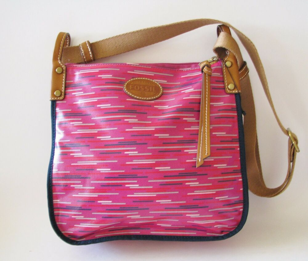 Fossil Keyper Hot Pink Fuchsia Berry Stripe Canvas Pvc Bag