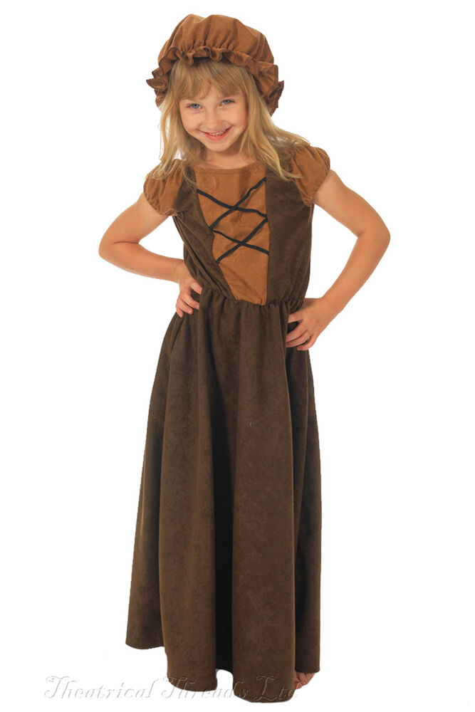 Wench Costume Kids Fancy Dress Peasant Pantomime Villager ...