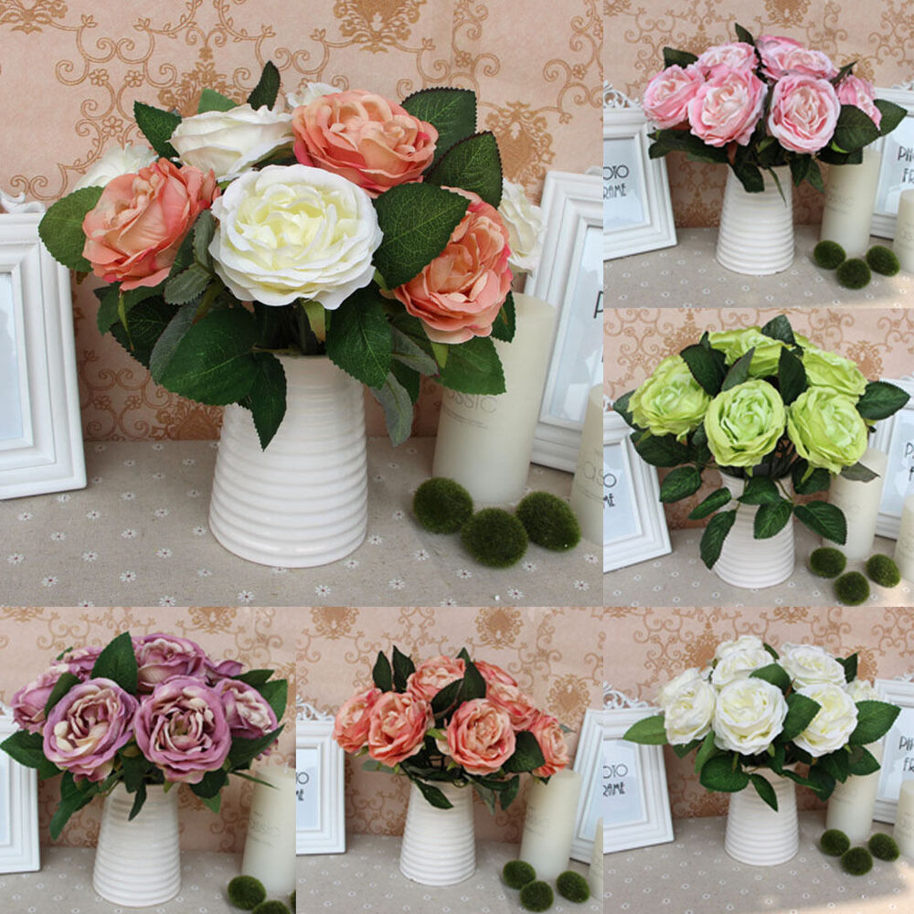 Wedding Flower Decoration Photos: Silk Rose Centerpiece Bridal Wedding Party Flowers Floral