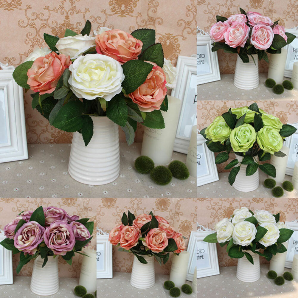 Artificial Flower Wedding Centerpieces: Silk Rose Centerpiece Bridal Wedding Party Flowers Floral