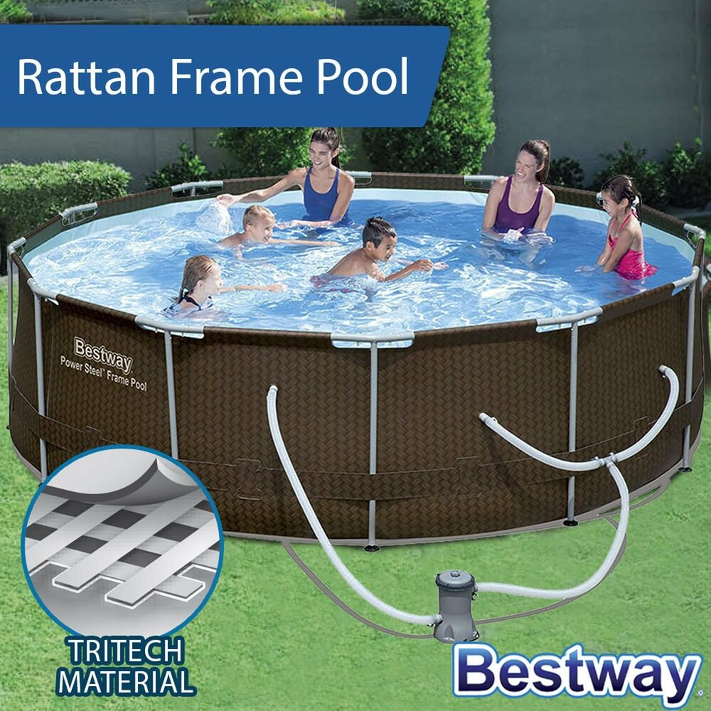New Bestway Above Ground Swimming Pool Steel Frame Filter Pump 12ft 366cm 56515 Ebay