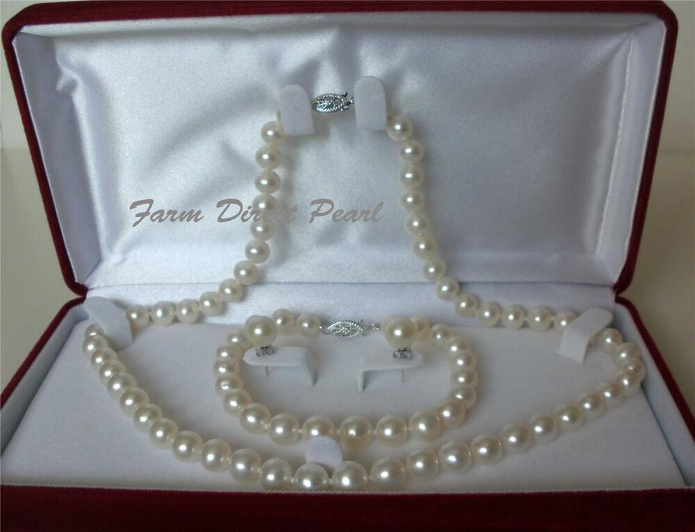 "18"" Inch AAAA 9-10mm White Pearl Necklace Bracelet ..."