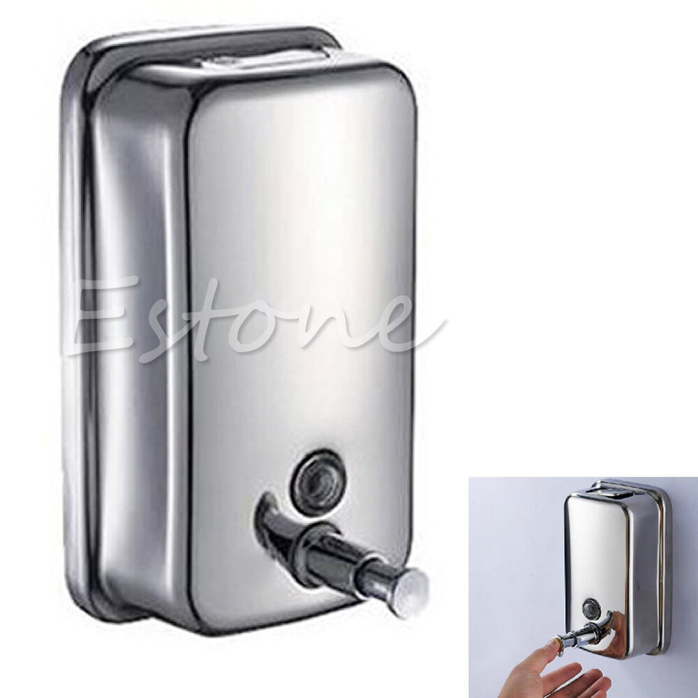 New 500ml Wall Mounted Bathroom Soap Dispenser Stainless Steel