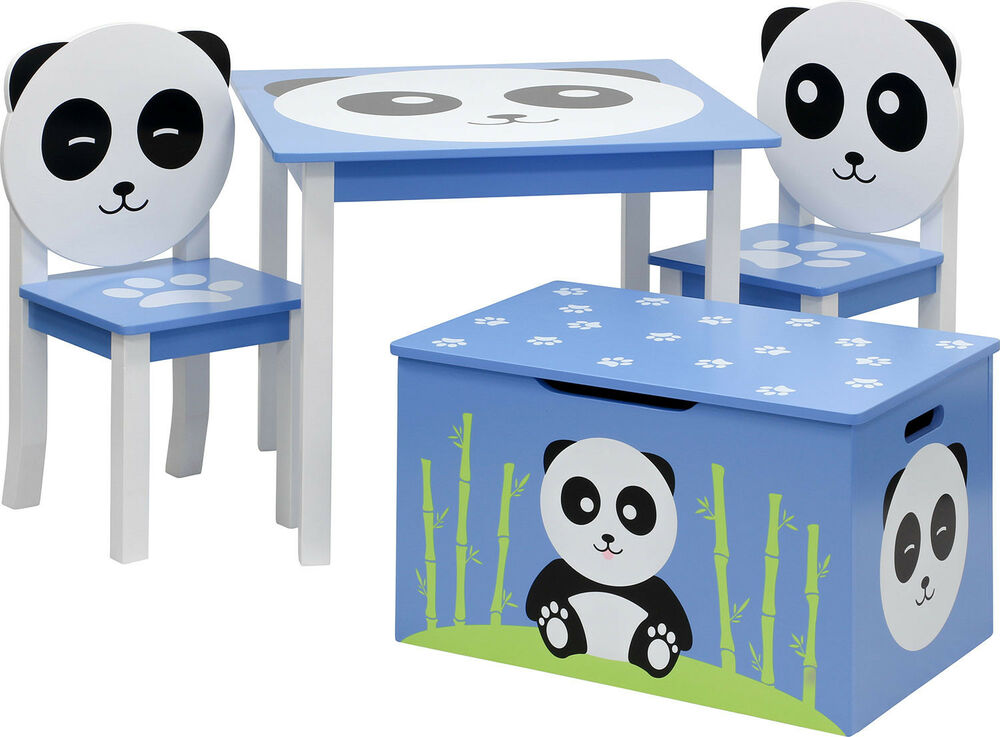 tisch mit st hlen und truhenbank panda kinderm bel garnitur sitzgruppe set ebay. Black Bedroom Furniture Sets. Home Design Ideas