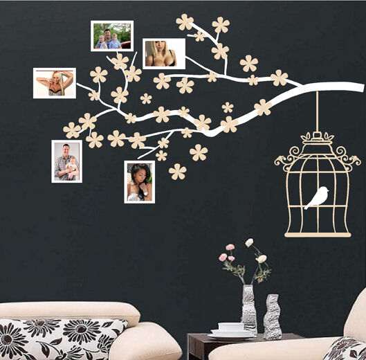 cadre photo branche d 39 arbre autocollant mural d co murale d calcomanie ebay. Black Bedroom Furniture Sets. Home Design Ideas