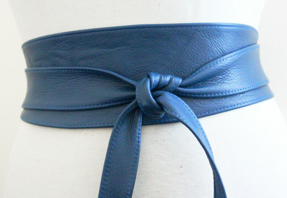 Handcrafted Blue Real Leather Obi Belt Wide Waist Belt