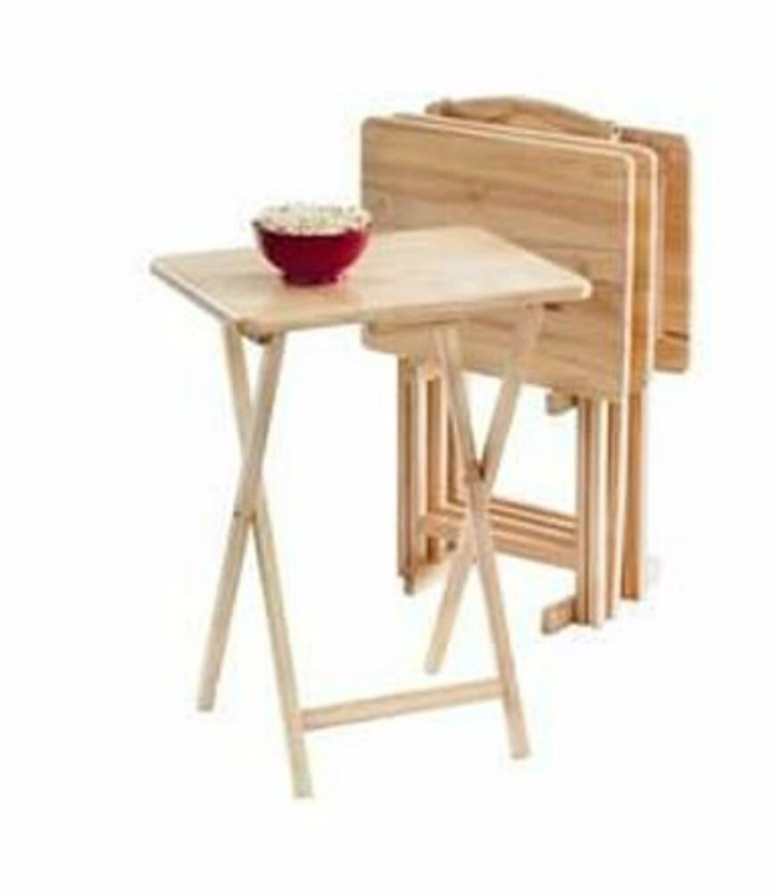 5pc Tv Tray Table Set Wood Stand End Folding Furniture