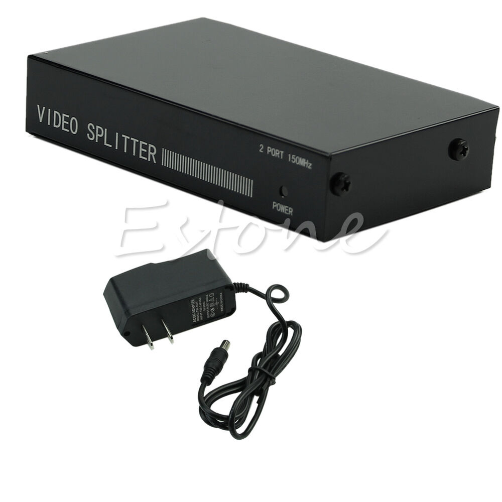 Computer Monitor Splitter : In out vga video splitter box adapter with power to pc