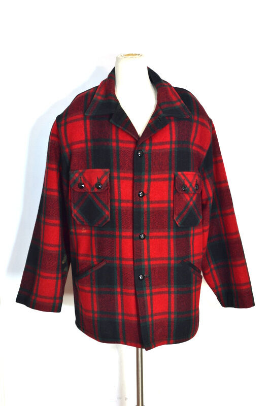 Vintage chippewa red black green plaid wool hunting barn for Mens red wool shirt