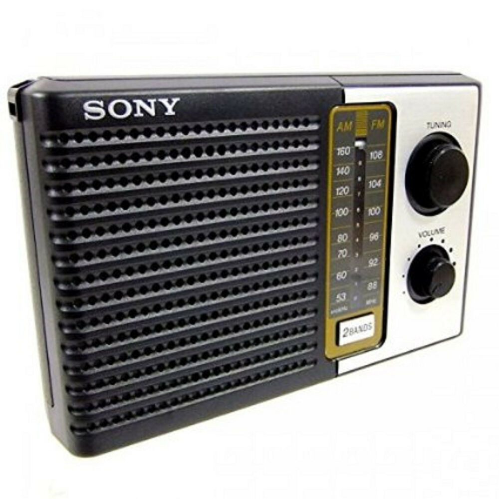sony 2 band fm am portable battery transistor radio compact small travel size ebay. Black Bedroom Furniture Sets. Home Design Ideas