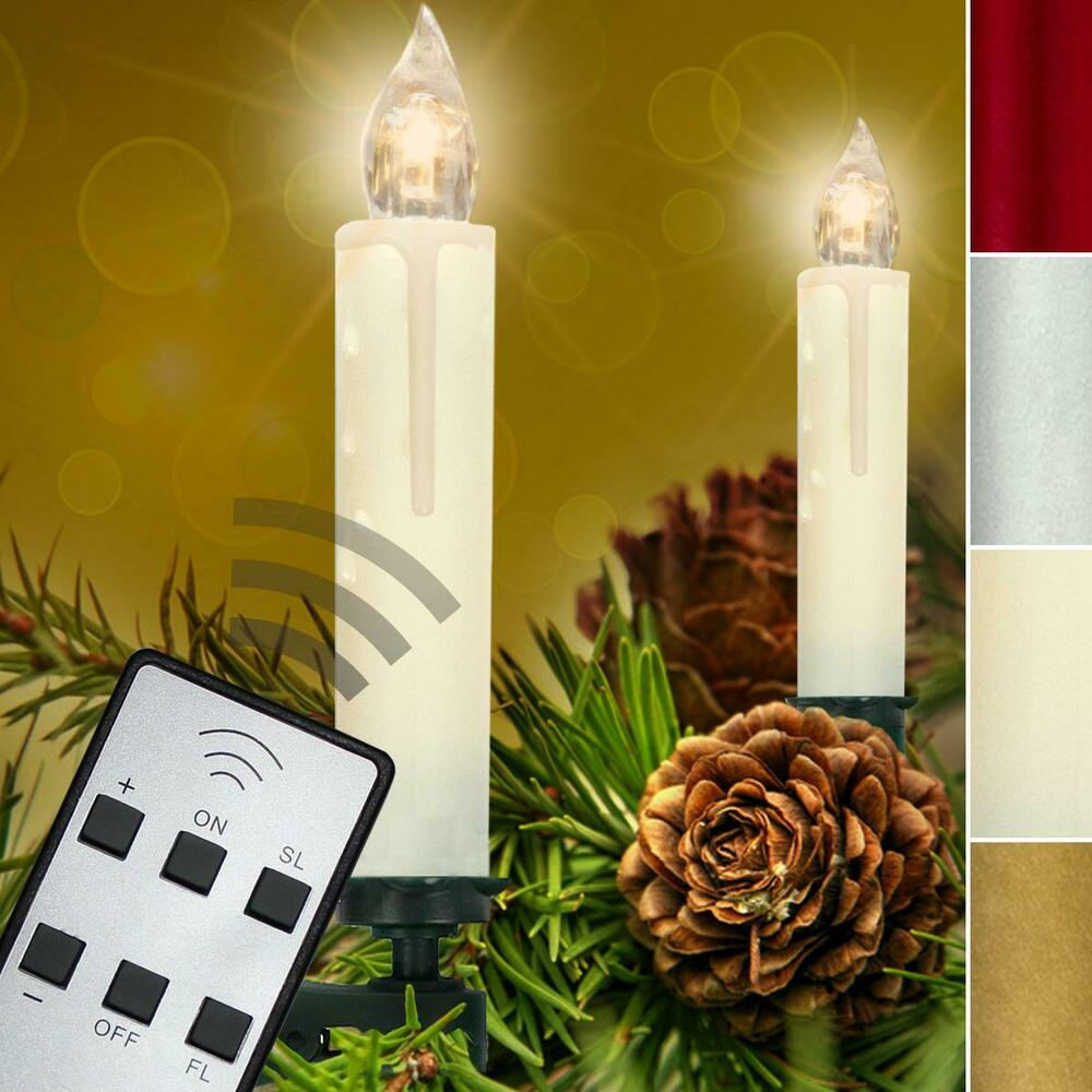 20 set led lichterkette kerzen kabellos weihnachtskerzen christbaum beleuchtung ebay. Black Bedroom Furniture Sets. Home Design Ideas