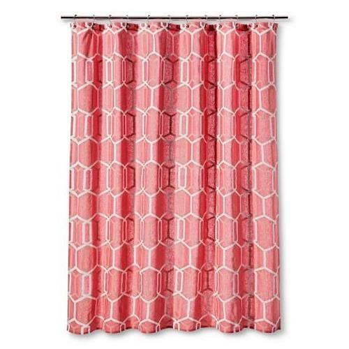 Details About Threshold Shower Curtain Coral And White Geo Print 72 X