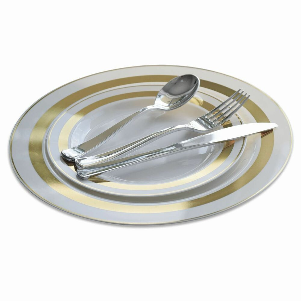OCCASIONS Soleil Wedding Disposable Plastic Plates Silverwa