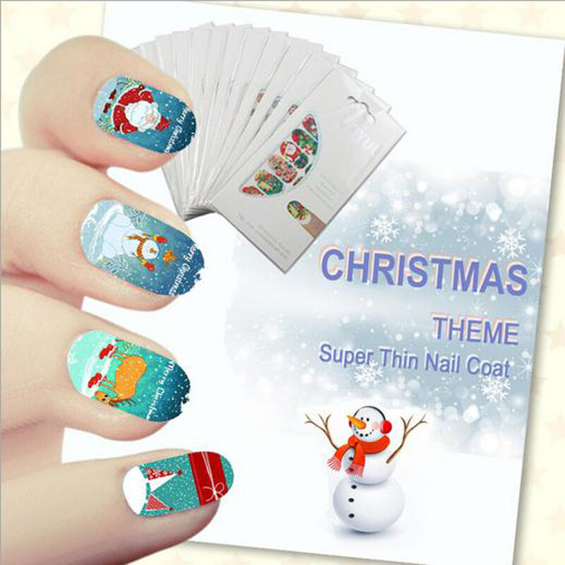 Cute 1 set 14pcs christmas design 3d nail art stickers for 3d nail decoration