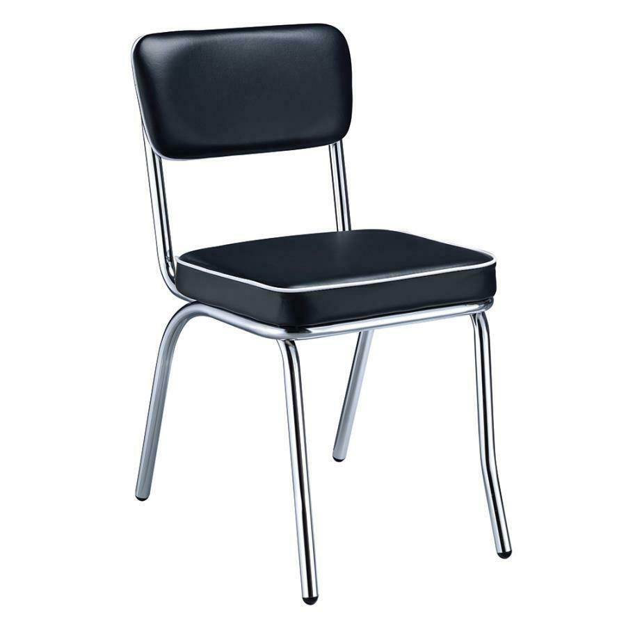 Retro Chrome Coke Dining Chairs With Black Cushions By