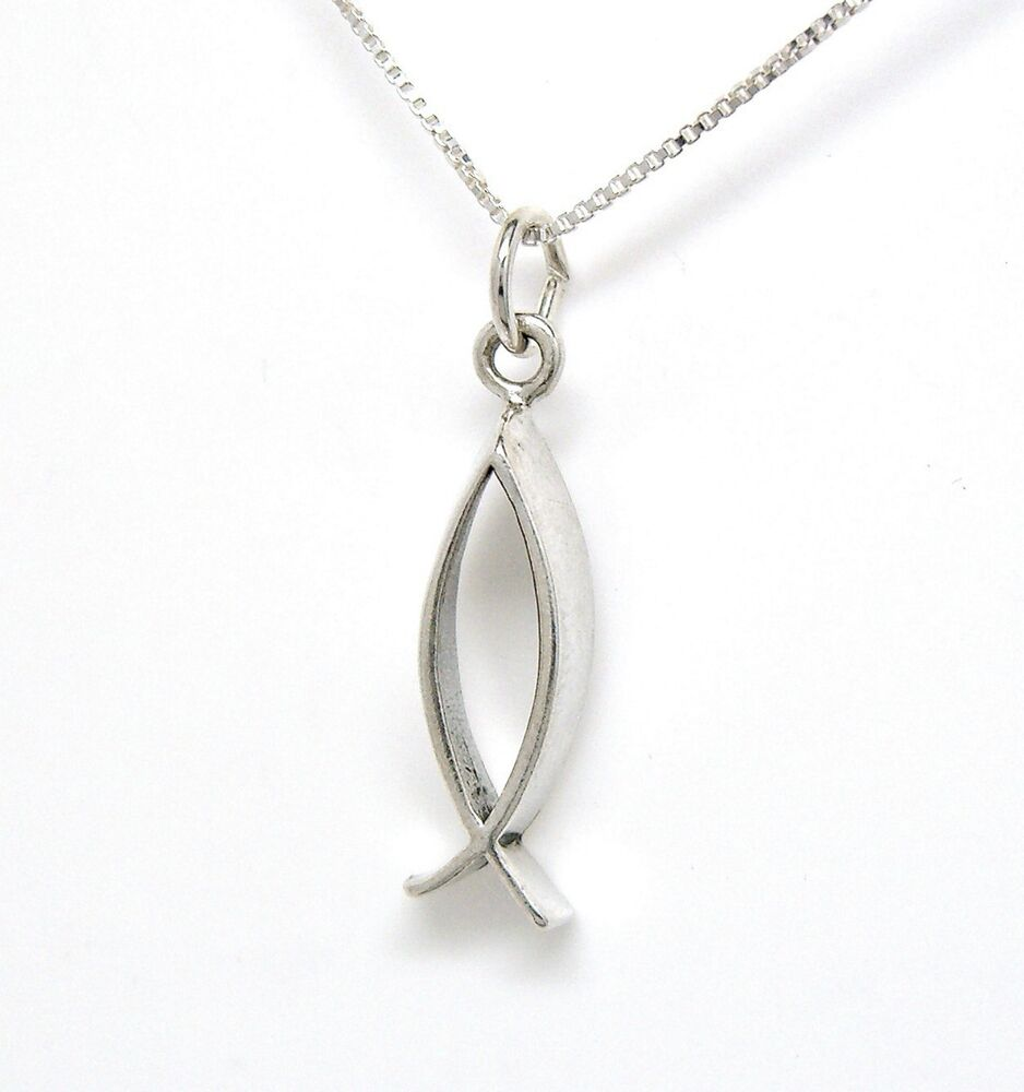 3d christian fish design 925 sterling silver necklace for Christian fish necklace