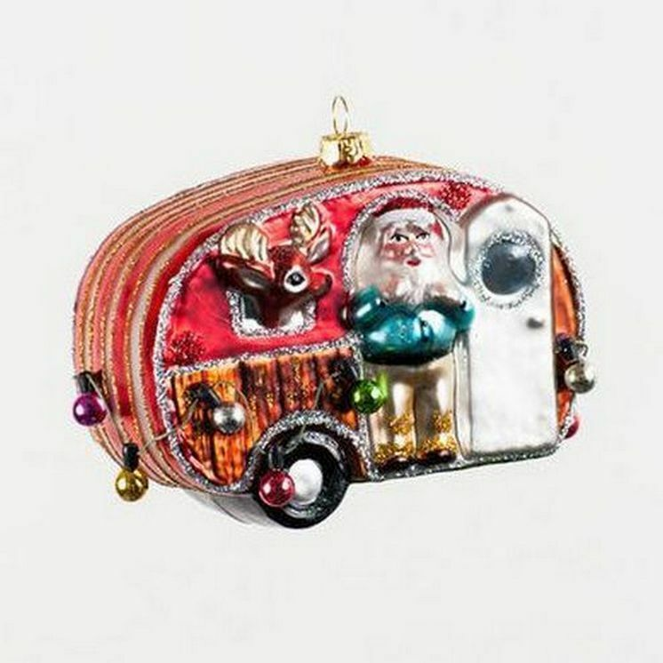 Santas airstream camper with with reindeer mercury glass christmas