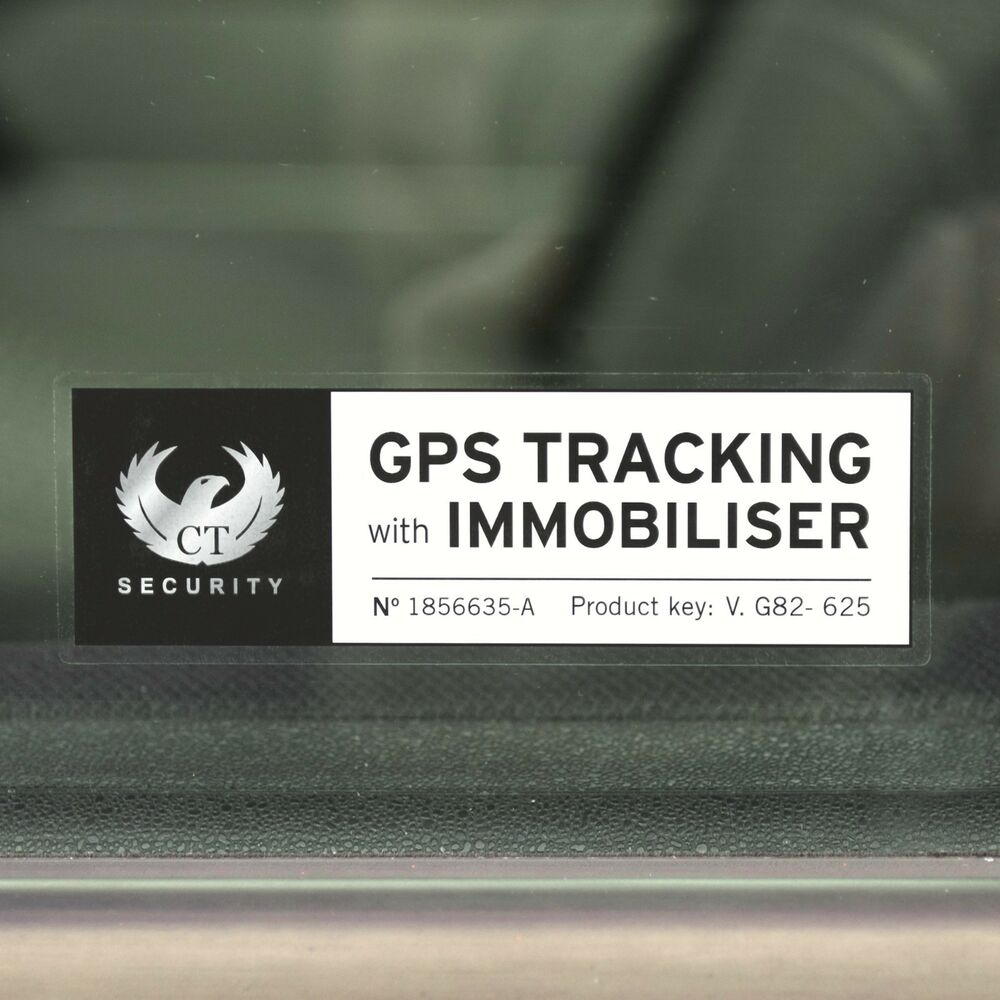 Truck Back Window Decals >> 4 Auto Car SECURITY ALARM STICKERS Warning IMMOBILISER and GPS TRACKING (Chrome) | eBay