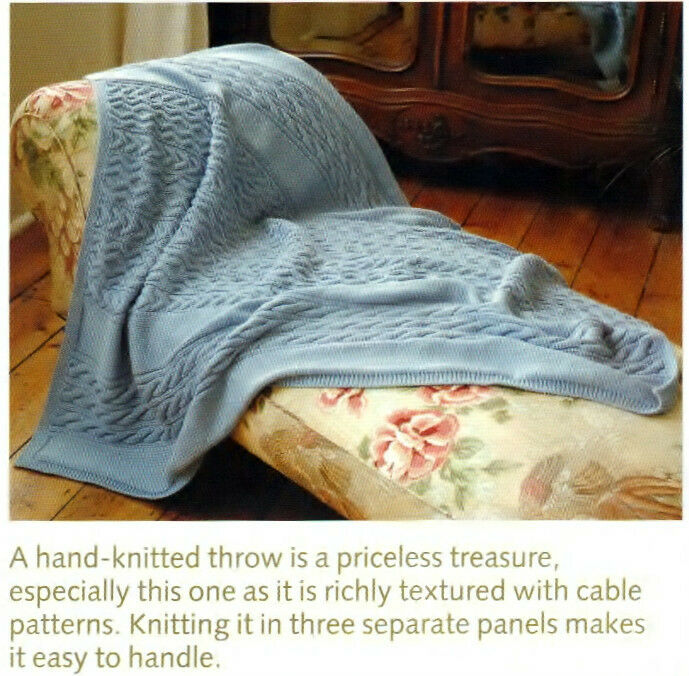 KNITTING PATTERN VINTAGE LOVELY ARAN THROW IN 3 PANELS APPROX 49-60