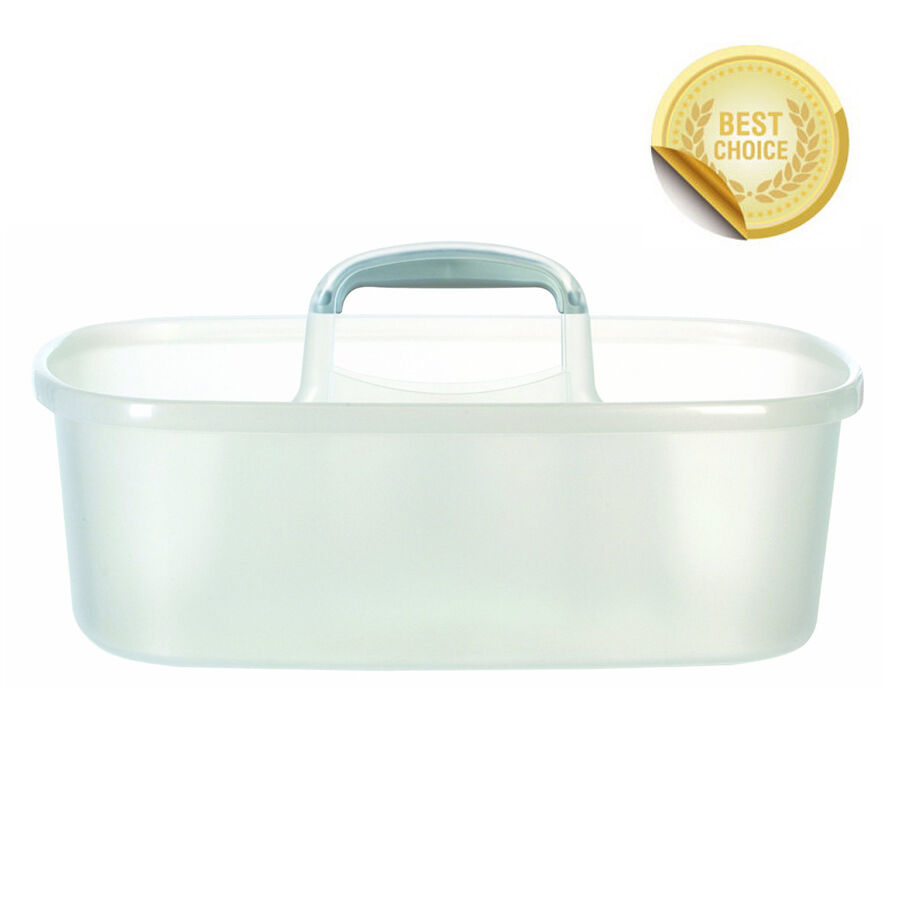 Plastic Tool Supply Tote Caddy Clear Silver Handle Usa