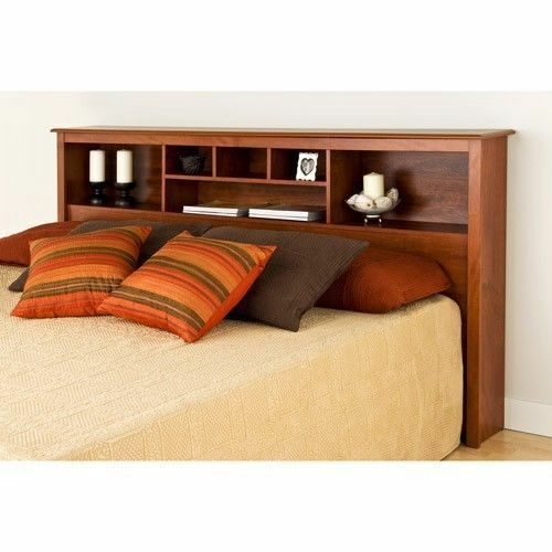 Headboard full queen or king size storage bed wood for Bookshelf bed headboard