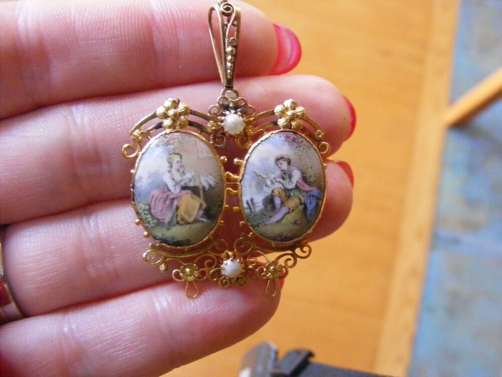 18k French Hand Painted Cameo Pearl Flower Pin Pendant
