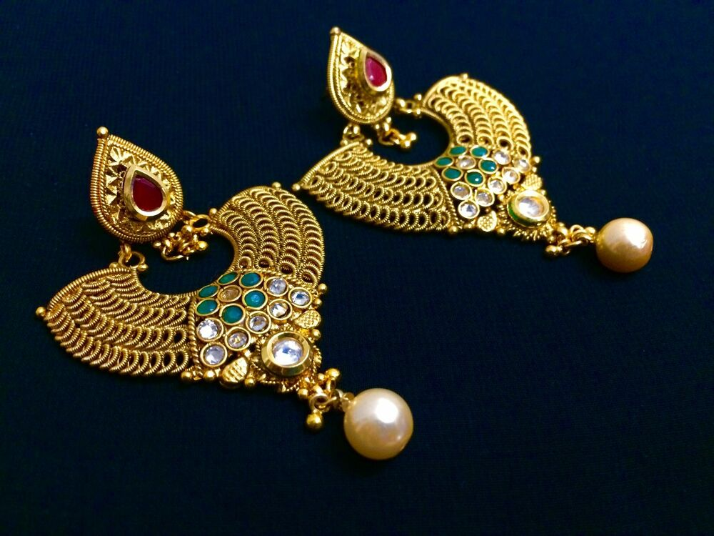 ethnic jewelry gold plated indian fashion pearl