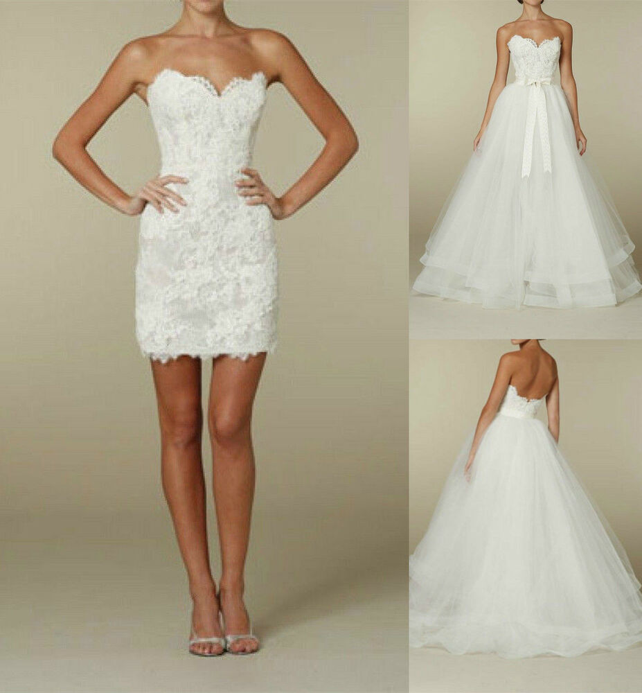 Two In One Short Bridal Gown Detachable Lace Skirt Wedding