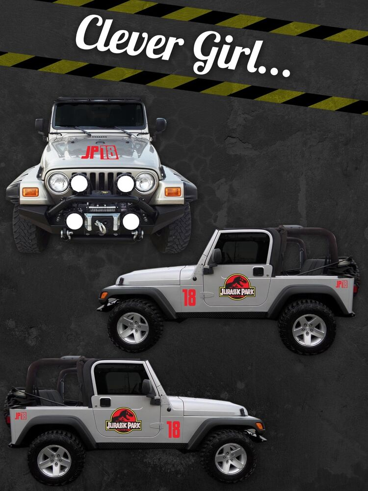 Jurassic park custom jeep safari vinyl decal sticker kit for Custom jeep lettering