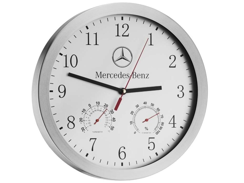 Genuine mercedes benz wall clock with thermometer for Mercedes benz clock
