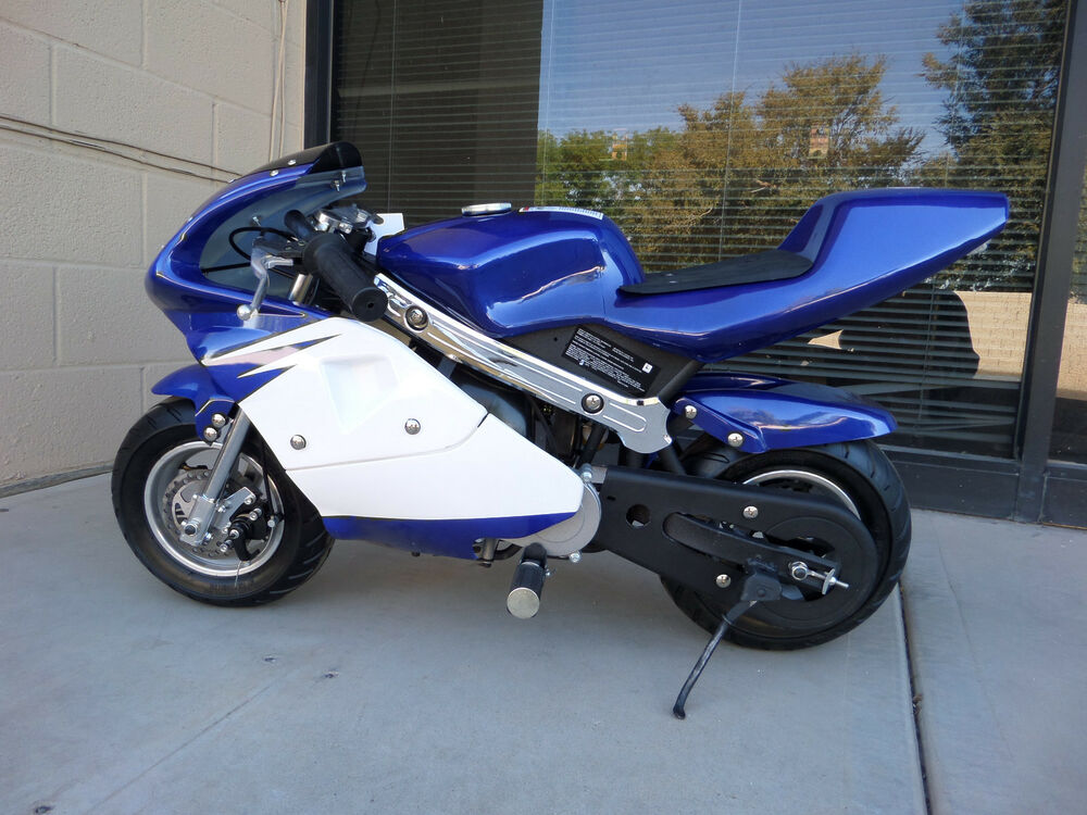 high performance honda clone 4 stroke 40cc blue pocket bike mini bike in stock ebay. Black Bedroom Furniture Sets. Home Design Ideas